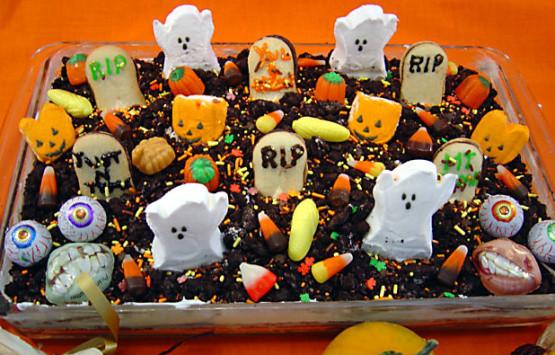 Graveyard Cakes Halloween  Spooktacular Halloween Graveyard Cake Recipe Genius Kitchen