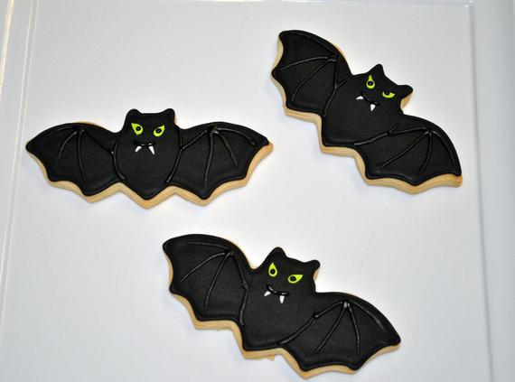 Halloween Bat Cookies  Bat Hand Decorated Sugar Cookies for Halloween 1 Dozen by