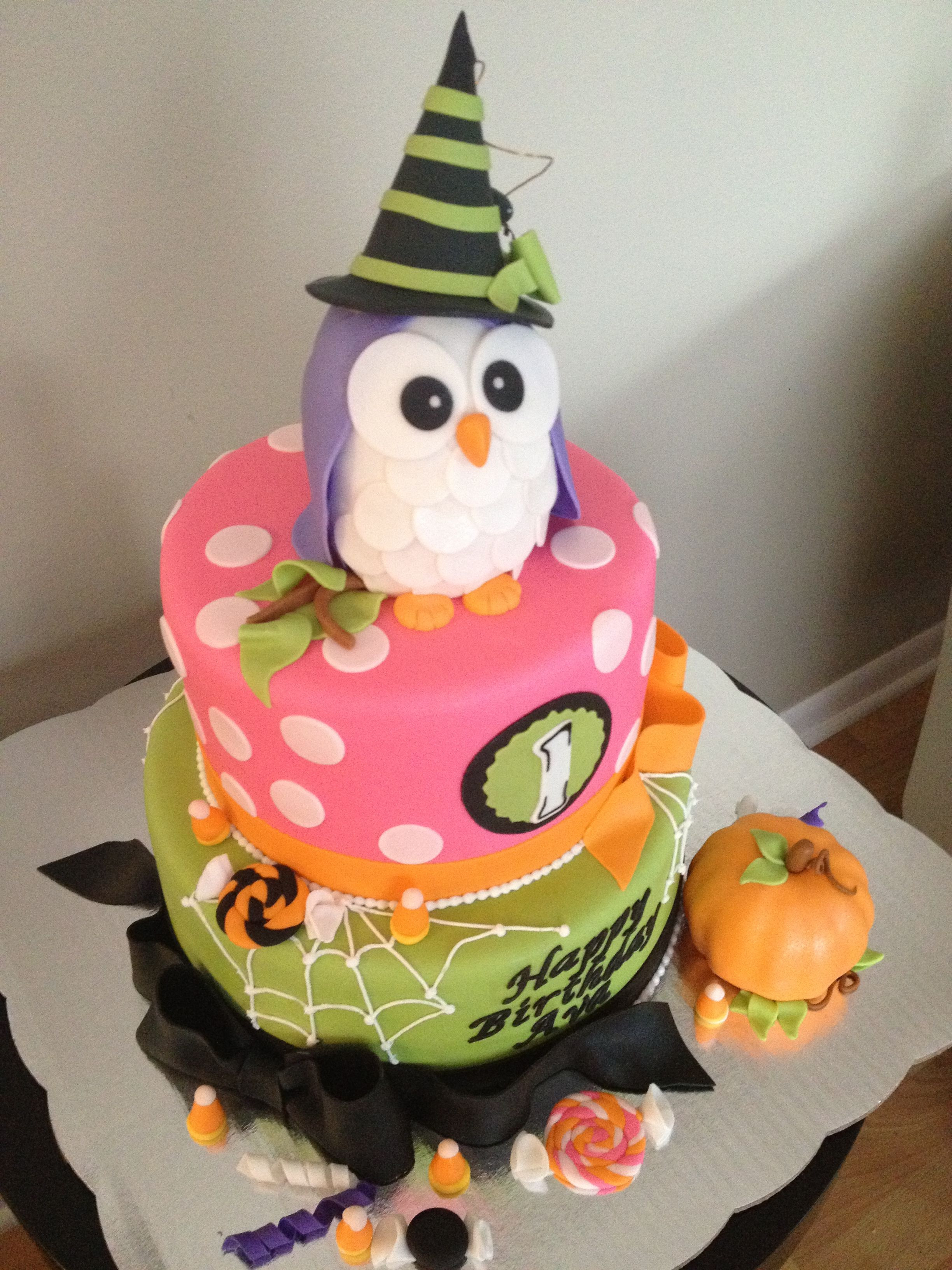 Halloween Birthday Cake Ideas  Owl Halloween 1st birthday cake