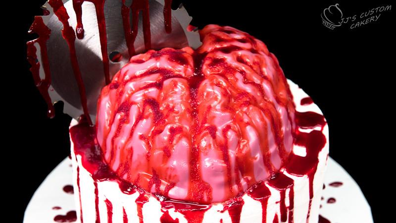 Halloween Brain Cakes  Bloody Jello Brain Cake