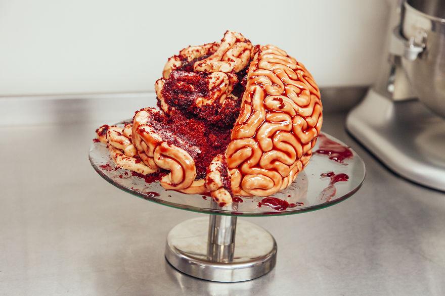 Halloween Brain Cakes  How To Make A Red Velvet Brain Cake For Halloween