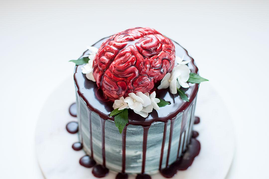 Halloween Brain Cakes  Halloween Bloody Brain Cake Chicky Treats