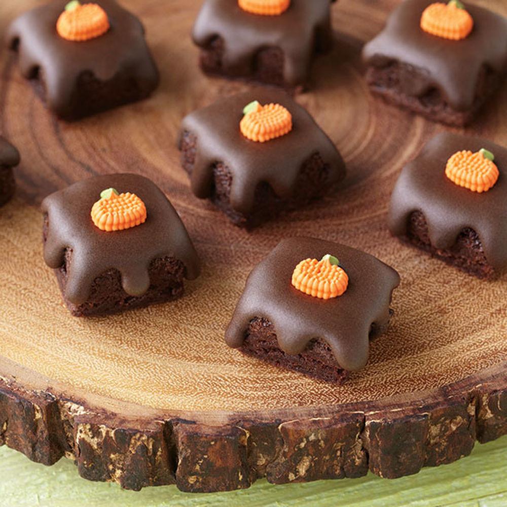 Halloween Brownies Decorating  Fall Glazed Brownie Bites