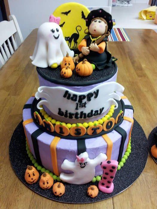 Halloween Cakes Pinterest  Halloween 1st Birthday w Smash Cake cake by Peggy