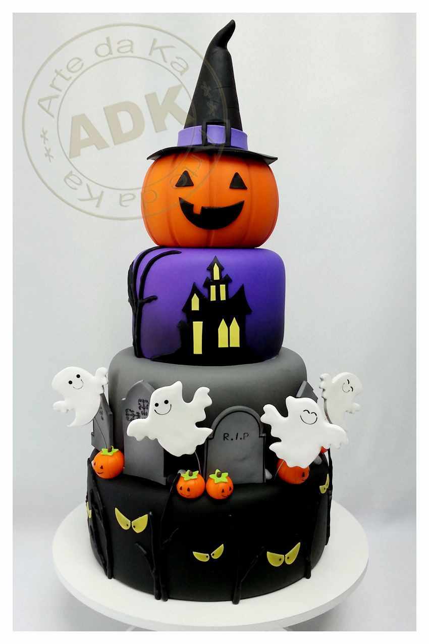 Halloween Cakes Pinterest  the pumpkin on the top is too cute
