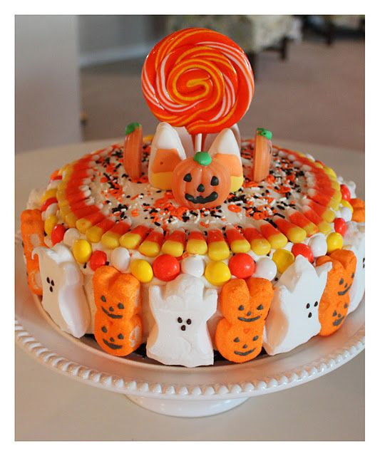 Halloween Candy Cakes  Halloween cake with frosting sprinkles Peeps candy corn