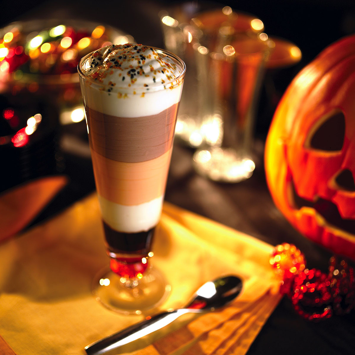 Halloween Coffee Drinks  Spook tacular Seven Layer Latte