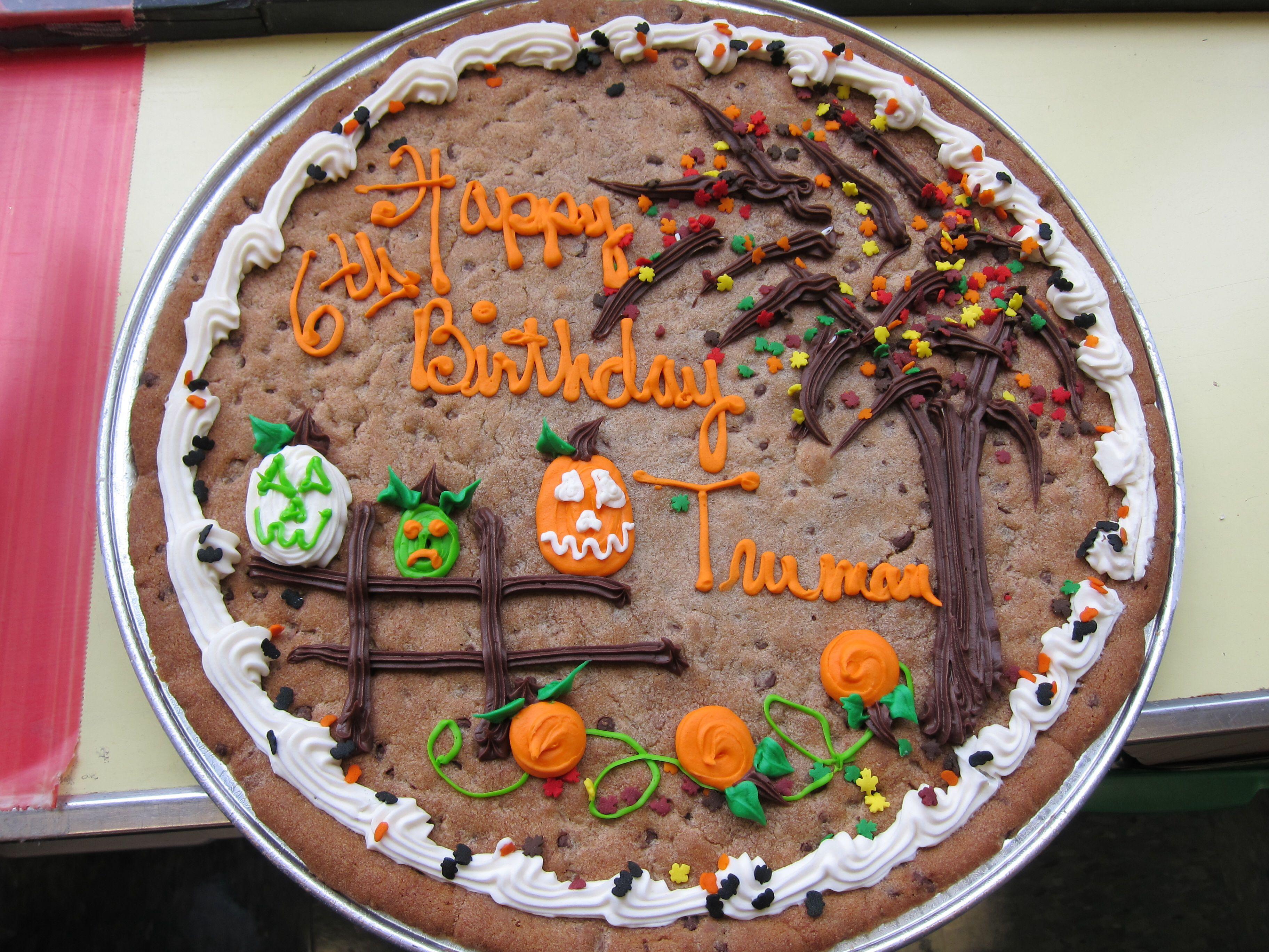 Halloween Cookie Cakes  Halloween b day cookie cake Halloween