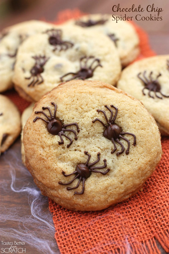 Halloween Cookies Recipes  Chocolate Chip Spider Cookies