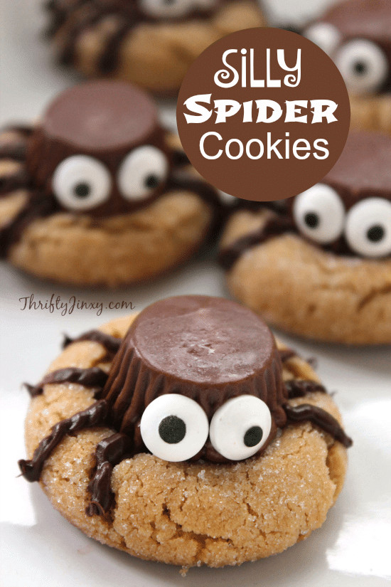 Halloween Cookies Recipes  Silly Halloween Spider Cookies Recipe Thrifty Jinxy