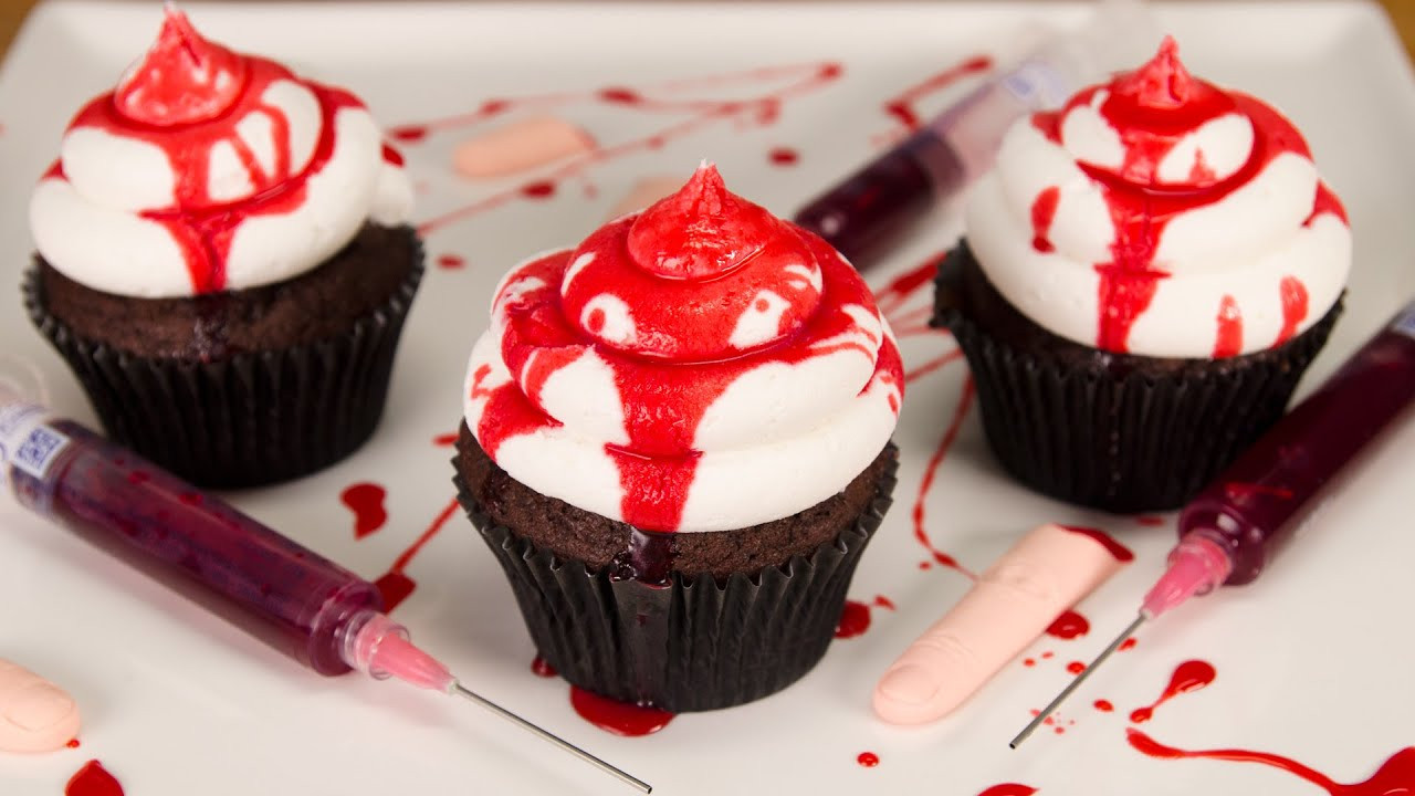 Halloween Cup Cakes  How to Make Edible Fake Blood & Bloody Halloween Cupcakes