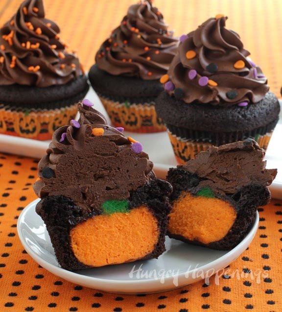 Halloween Cupcakes Cakes  Ultimate Cheesecake Stuffed Halloween Cupcakes Hungry