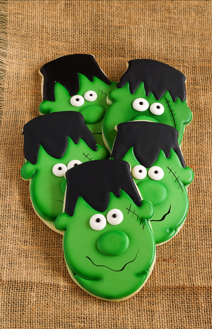 Halloween Decorated Sugar Cookies  Easy Frankenstein Cookies