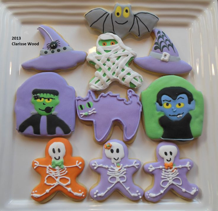 Halloween Decorated Sugar Cookies  137 best images about Clarisse s Cookies on Pinterest