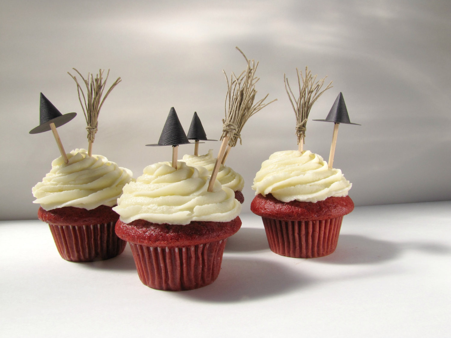 Halloween Decorating Cupcakes  Halloween Cupcake Toppers Witch hats and brooms cupcake