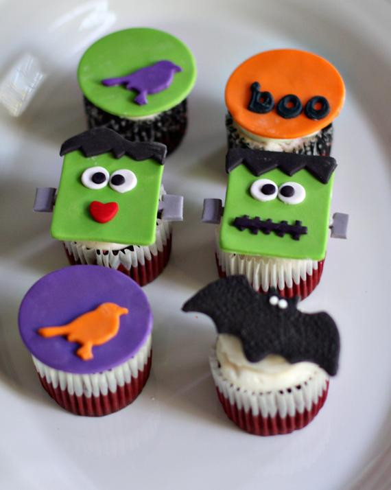 Halloween Decorating Cupcakes  Halloween Fondant Halloween and Frankenstein Toppers for