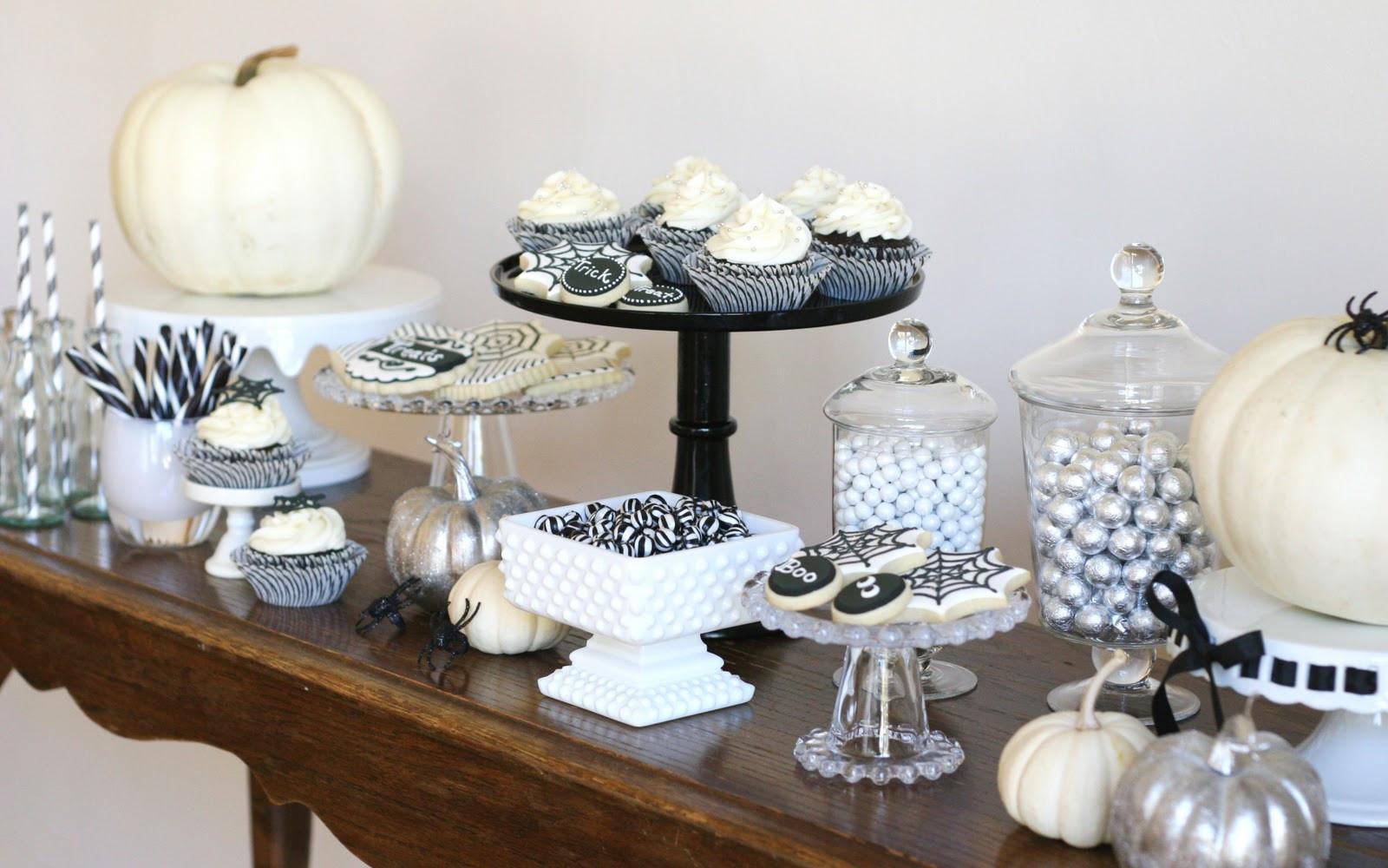 Halloween Dessert Table  Black and White Halloween Dessert Table – Glorious Treats