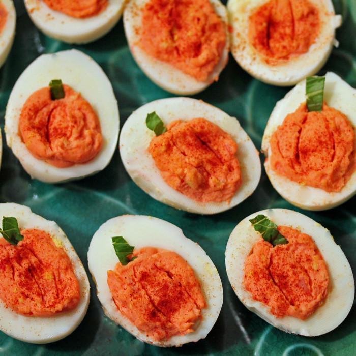 Halloween Deviled Eggs Recipes  Pumpkin Deviled Eggs for Halloween Frugal Bites