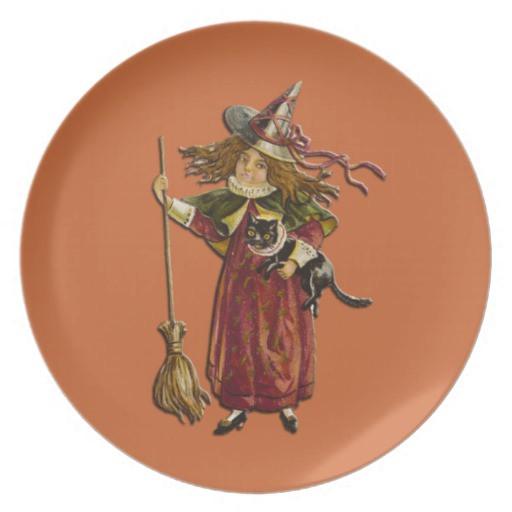 Halloween Dinner Plates  Vintage Witch Halloween Dinner Plate