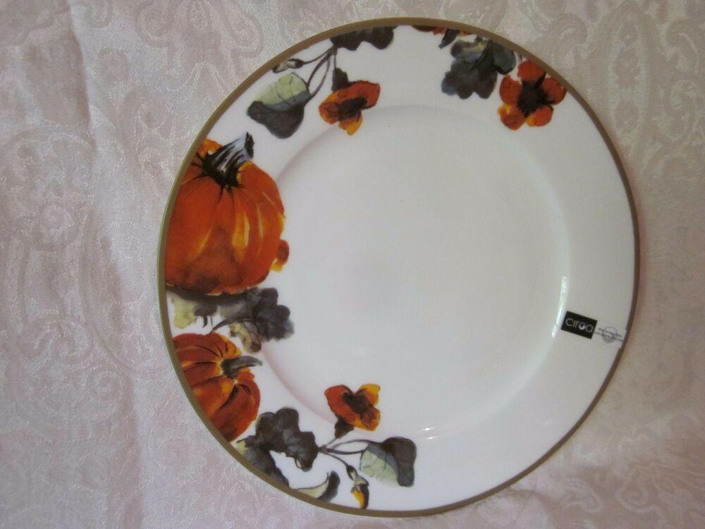 Halloween Dinner Plates  CIROA FINE BONE CHINA PUMPKINS THANKSGIVING HALLOWEEN