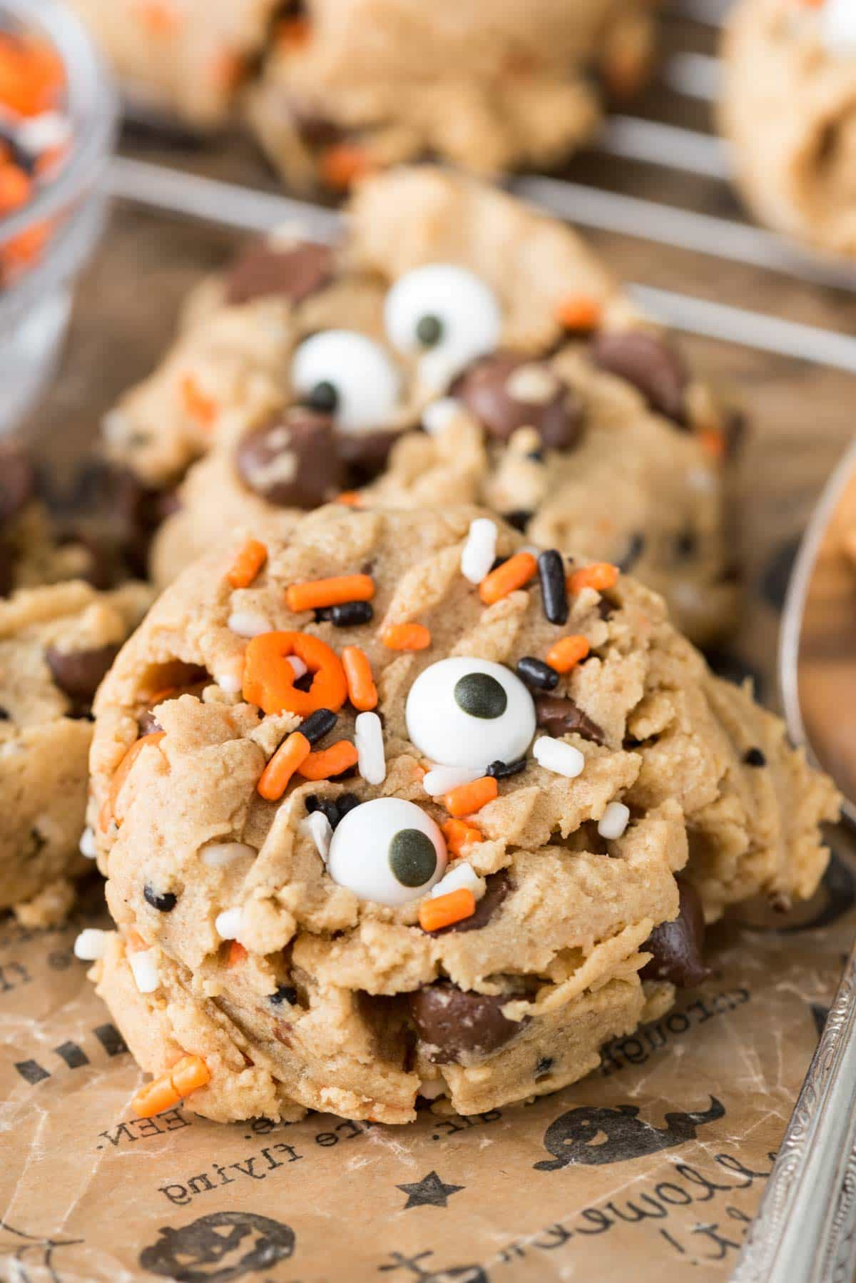 Halloween Peanut Butter Cookies  Peanut Butter Pudding Cookie Monsters Crazy for Crust