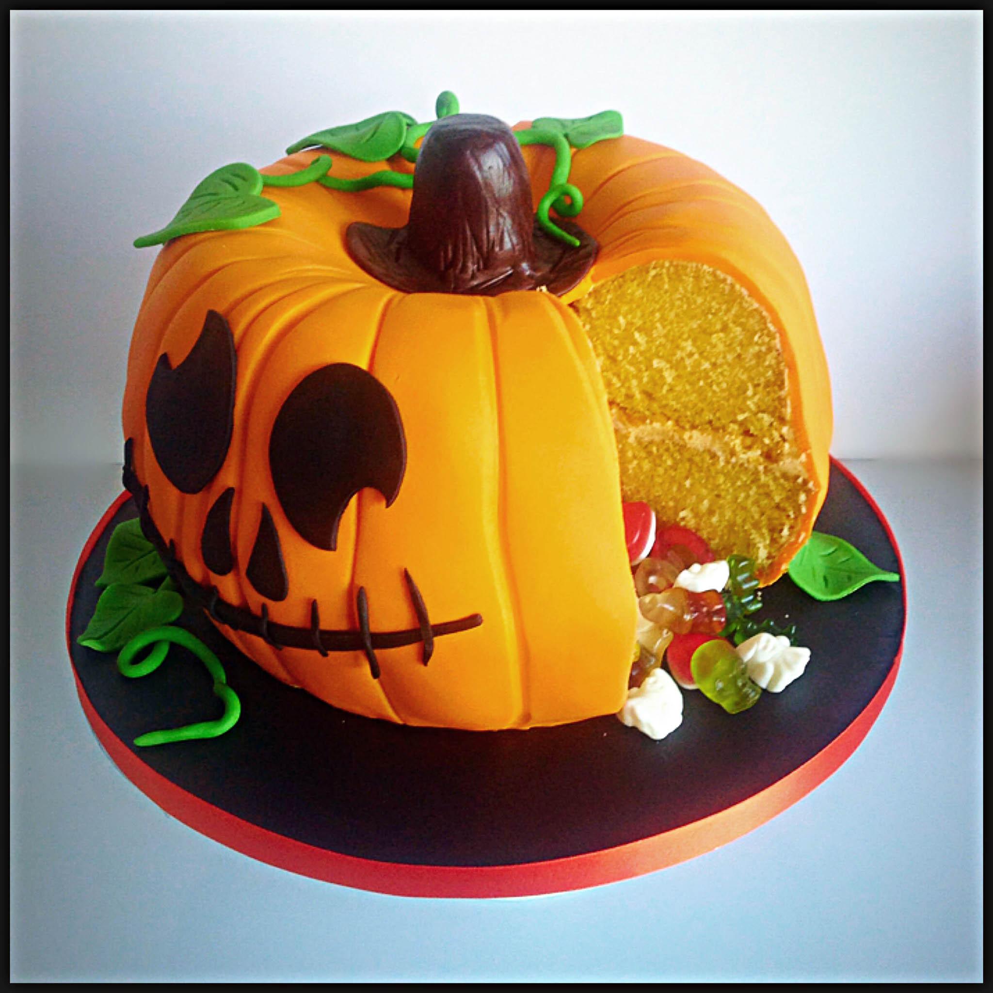 Halloween Pumpkin Cake  How To Make A Party Pumpkin Piñata Cake