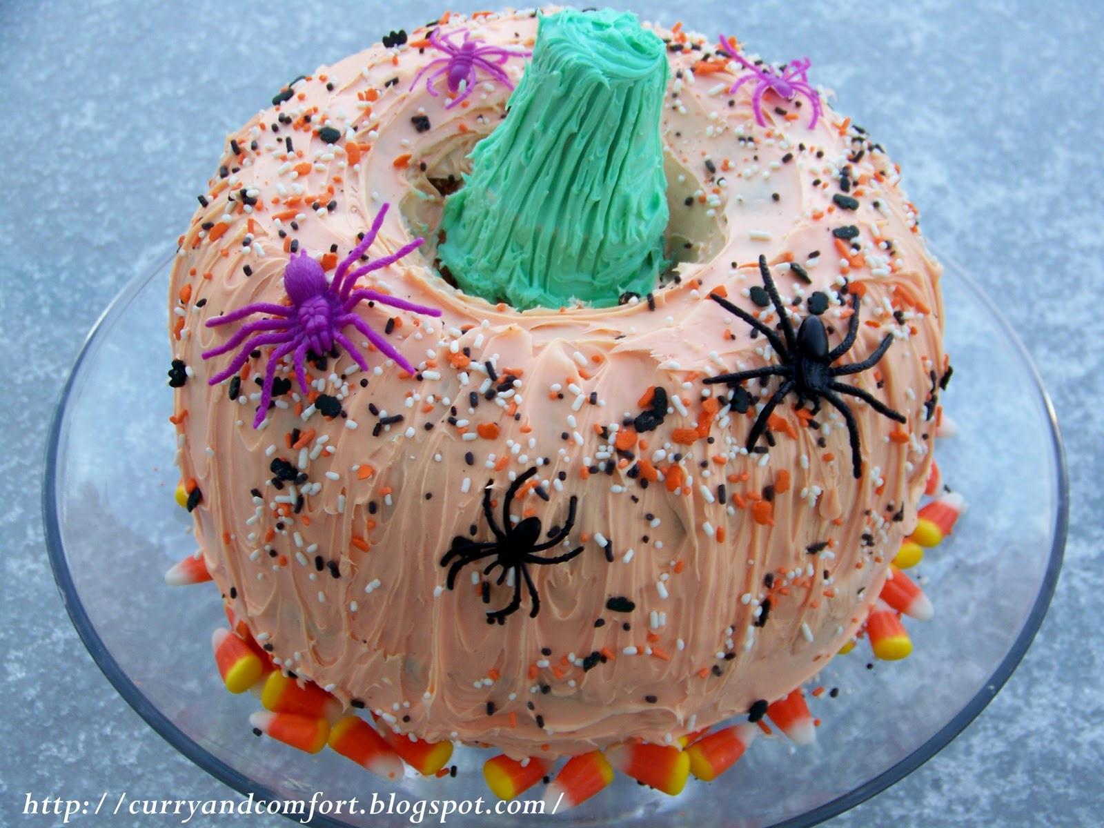 Halloween Pumpkin Cake  Kitchen Simmer Happy Halloween Pumpkin Cake