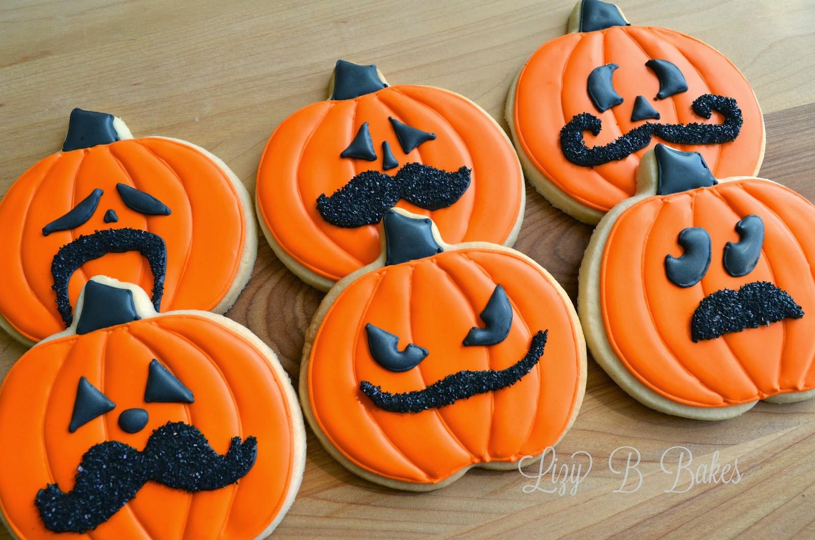 Halloween Pumpkin Cookies  Lizy B Halloween Mustache Cookies