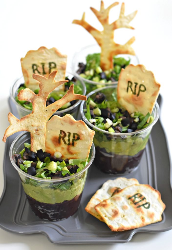 Halloween Themed Dinner  Graveyard Taco Cups Fork and Beans