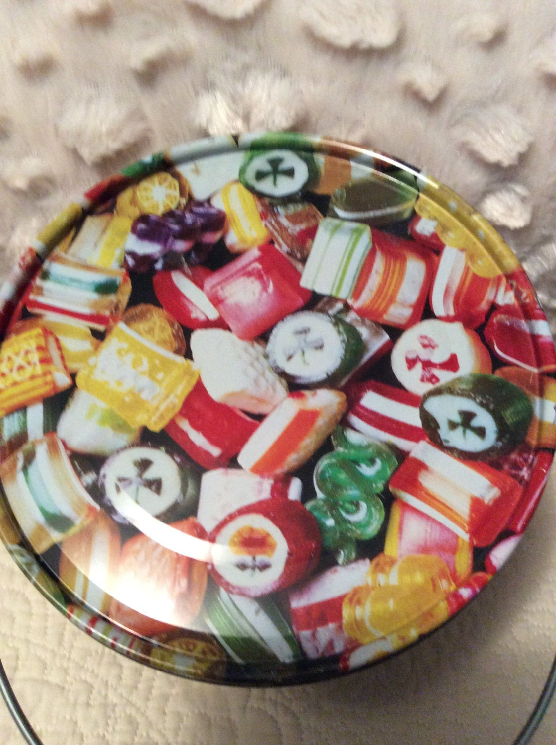 Hard Christmas Candy  Vintage Hard Candy Christmas Tin Container by