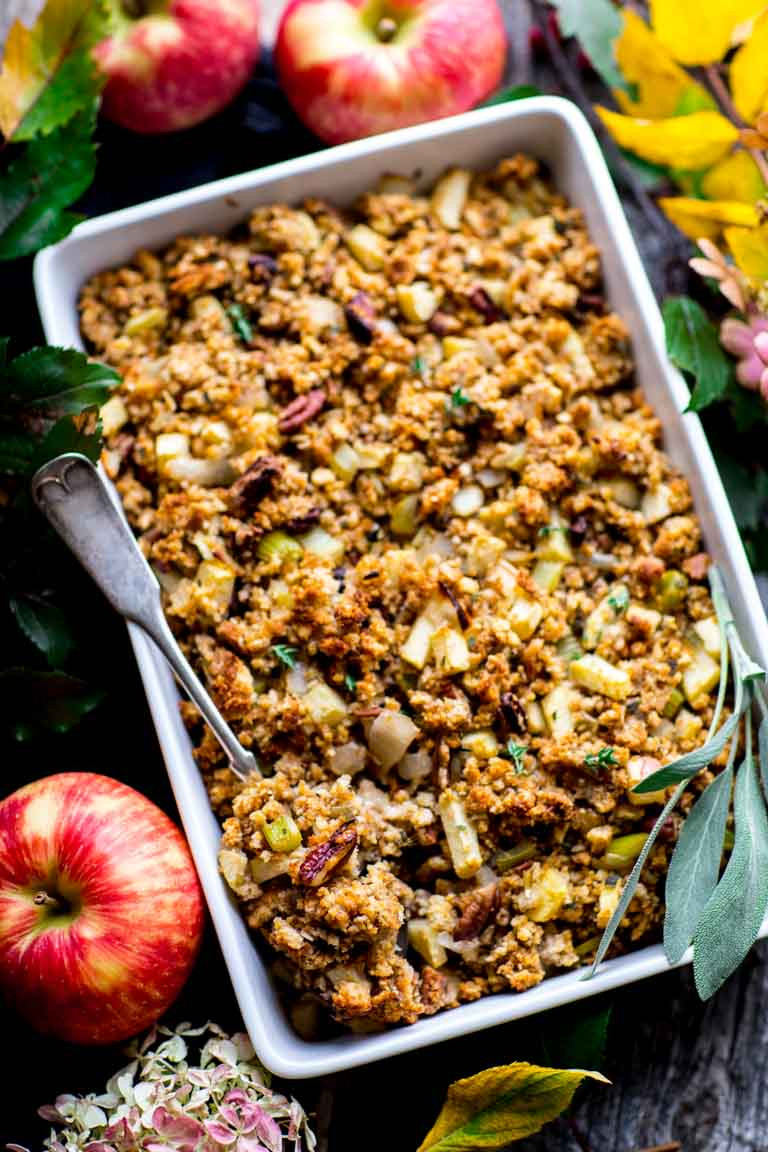 Healthy Thanksgiving Stuffing  cornbread stuffing with apples and pecans with a gluten