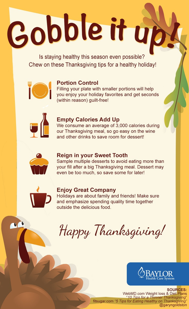 Healthy Thanksgiving Tips  Baylor Health Care System would like to wish everyone a