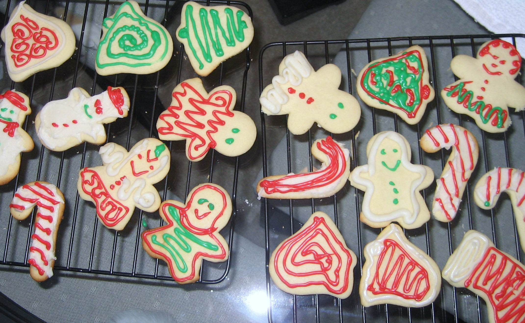 History Of Christmas Cookies  File Snowmen bells and candy cane sugar cookies