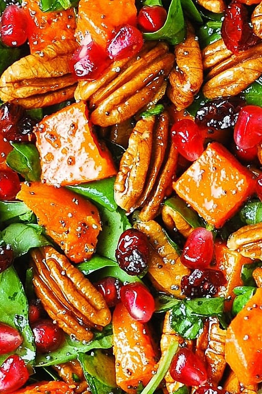 Holiday Salads Thanksgiving  Butternut Squash and Spinach Salad with Pecans