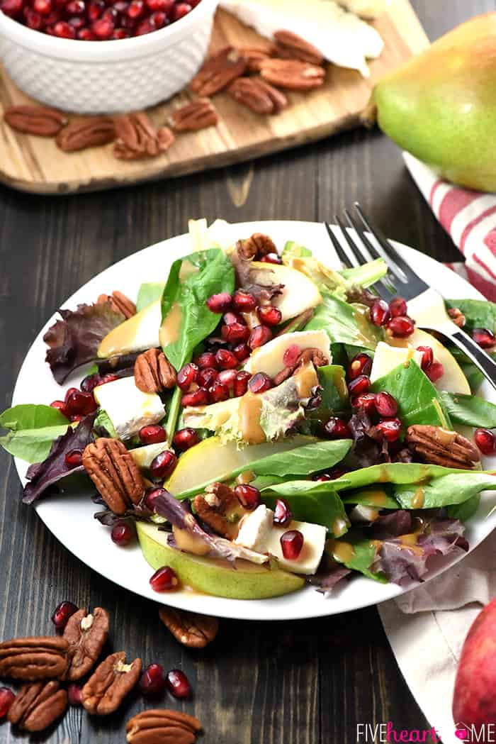 Holiday Salads Thanksgiving  Thanksgiving Salad with Pomegranate Pears Pecans