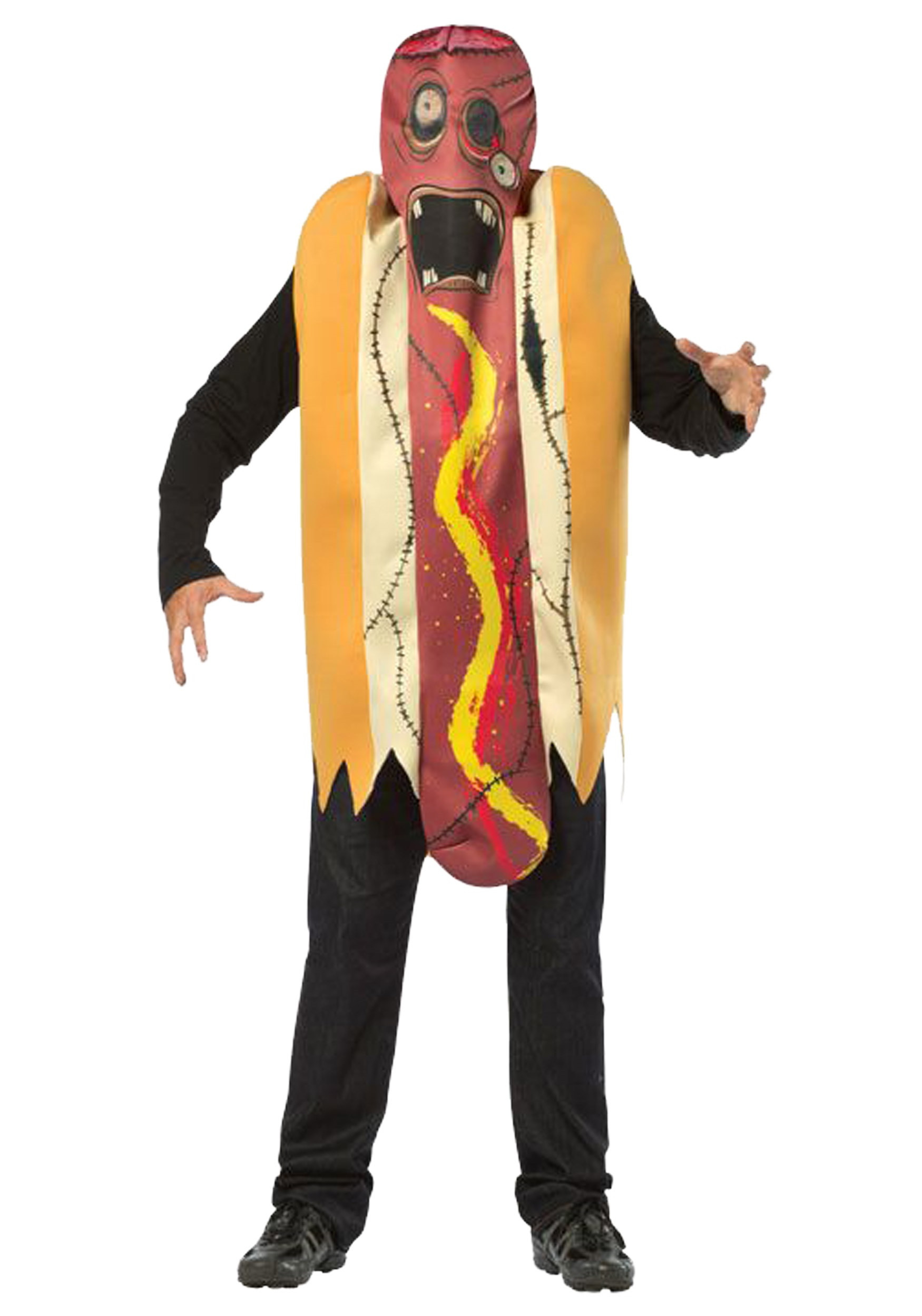 Hot Dog Halloween Costume For Dogs  Adult Zombie Hot Dog Costume