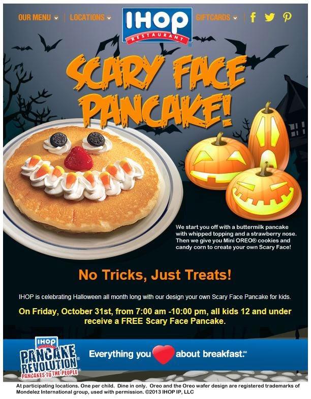 Ihop Free Pancakes Halloween  Montebello Mom Free Scary Face Pancake Halloween at IHOP