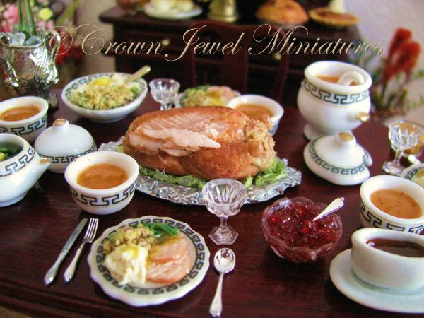Jewel Thanksgiving Dinner  OOAK 1 12 REALISTIC Two Plates Holiday Turkey Dinner by