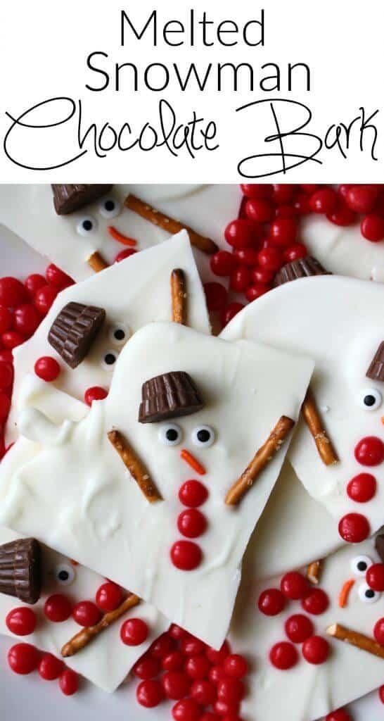 Kids Christmas Desserts  Melted Snowman Chocolate Bark Princess Pinky Girl