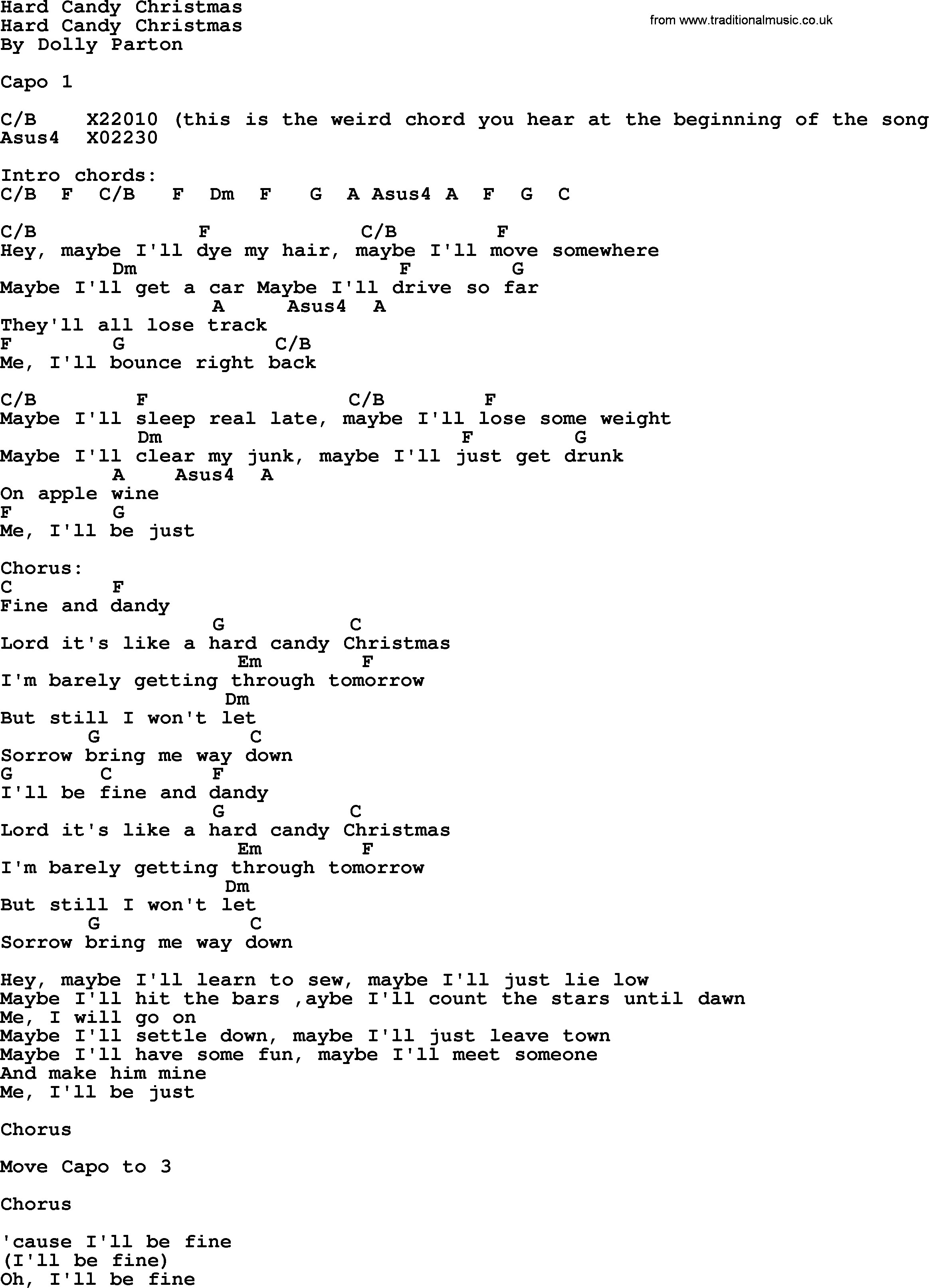 Lyrics Hard Candy Christmas  Hard Candy Christmas Bluegrass lyrics with chords