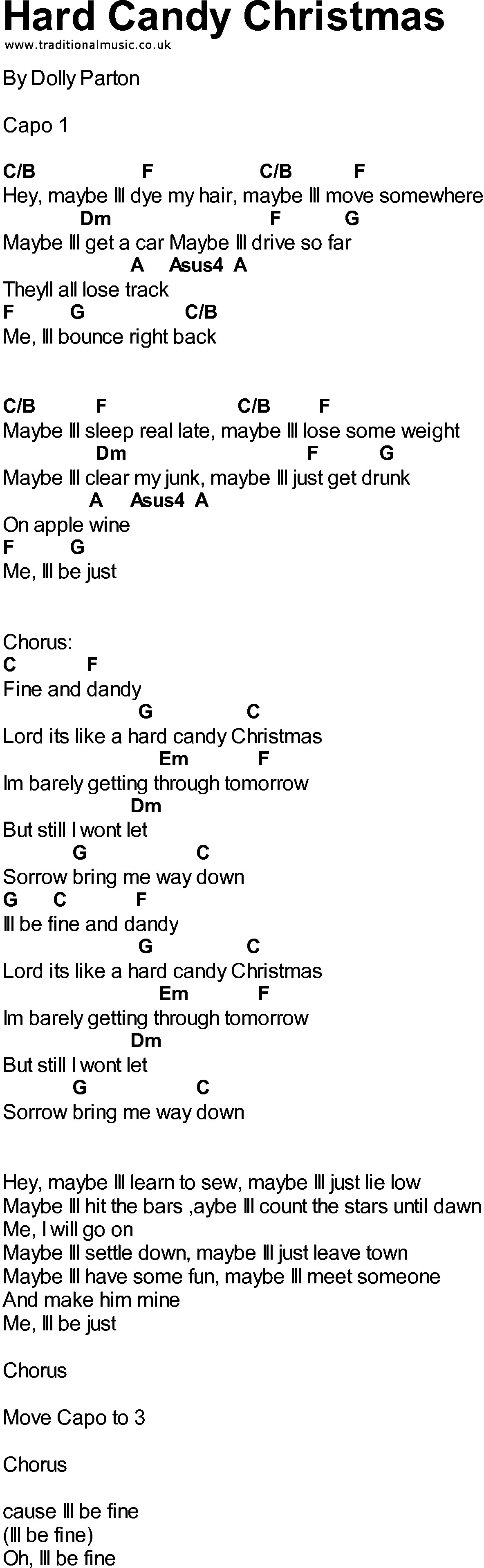 Lyrics Hard Candy Christmas  Bluegrass songs with chords Hard Candy Christmas