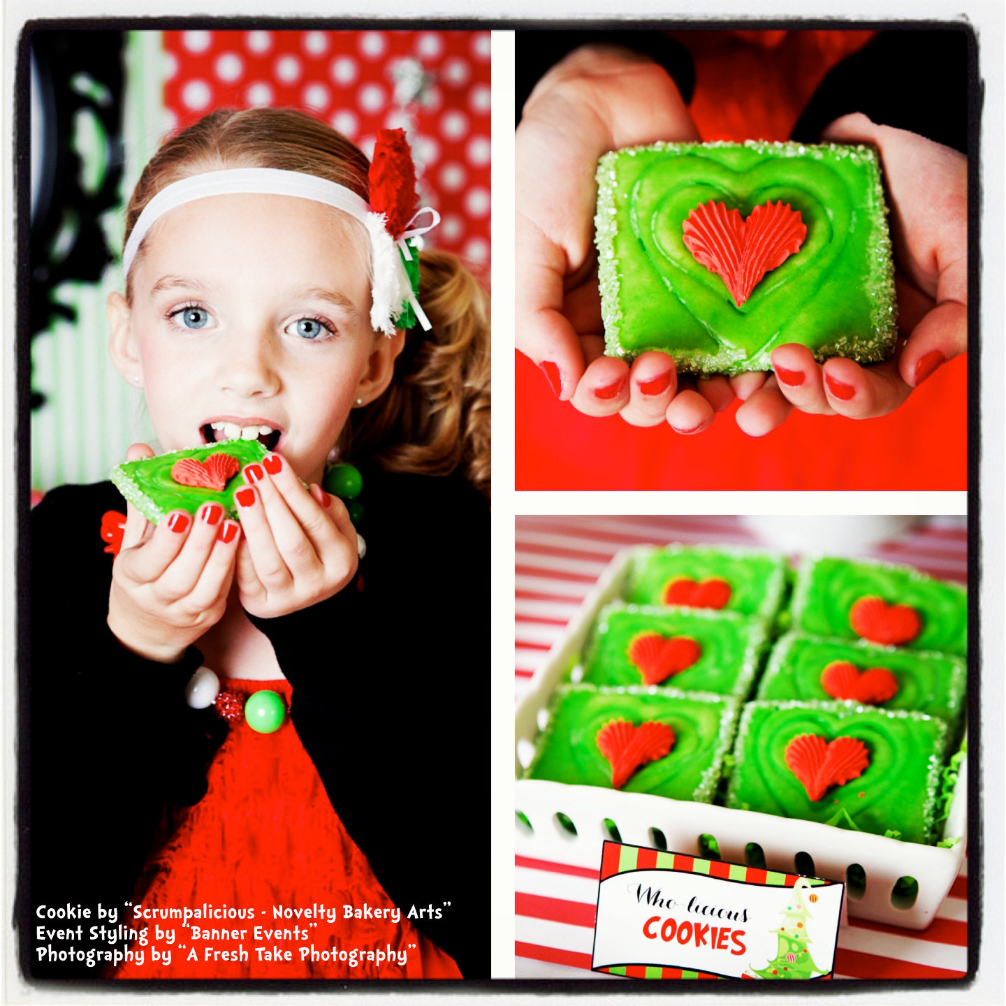 Mail Order Christmas Cookies  Mail Order Dr Seuss inspired Grinch s Heart Christmas