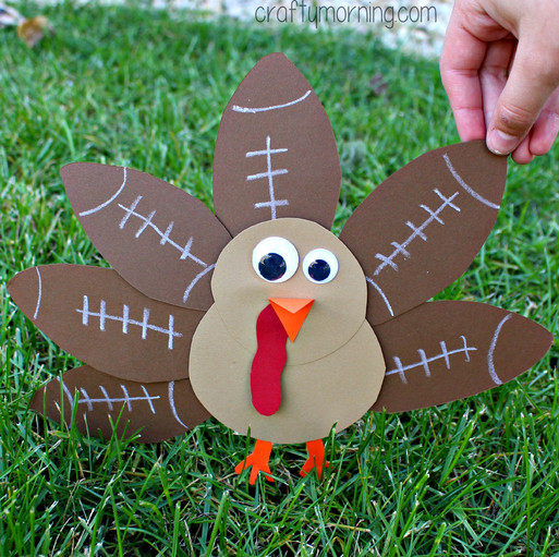 Making Thanksgiving Turkey  Football Turkey Craft for Kids to Make Crafty Morning