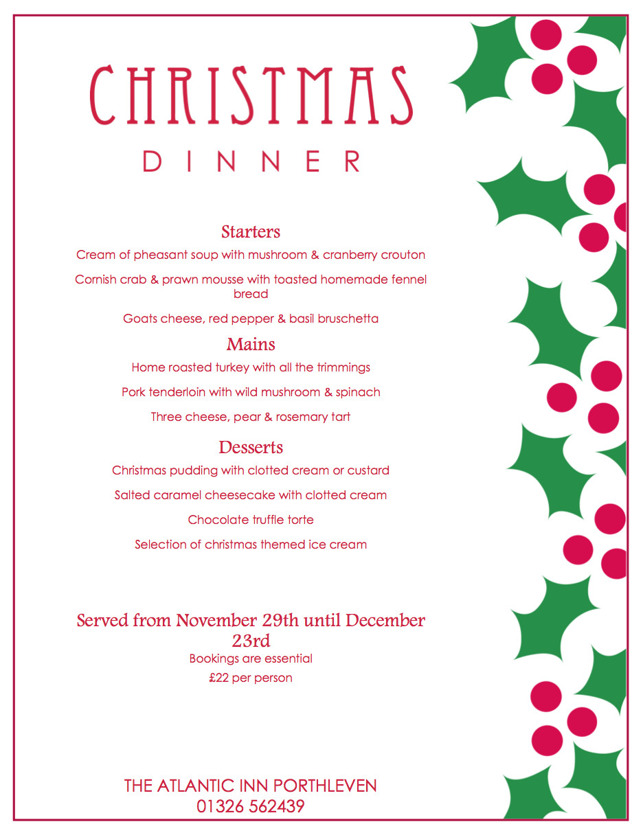 Menus For Christmas Dinners  Christmas Party Menu and New Year's Eve Dinner 2015