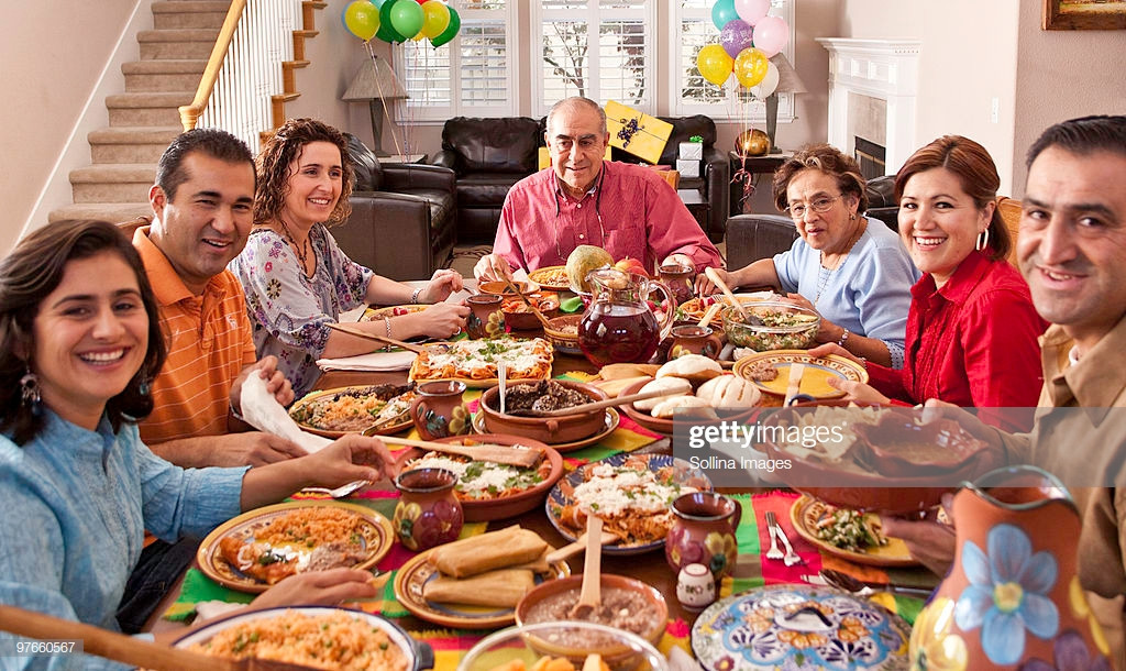 Mexican Thanksgiving Dinners  Multigenerational Mexican Family Celebrates Dinner Stock