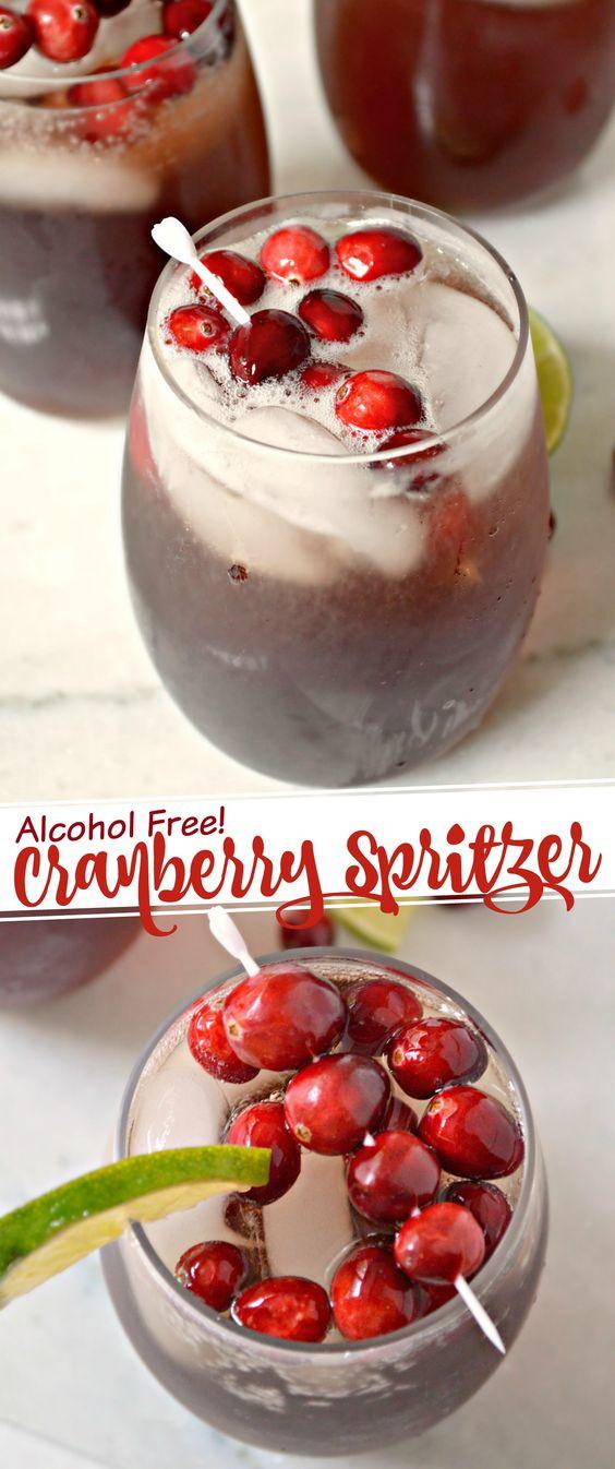 Non Alcoholic Thanksgiving Drinks  Non Alcoholic Cranberry Spritzer Recipe