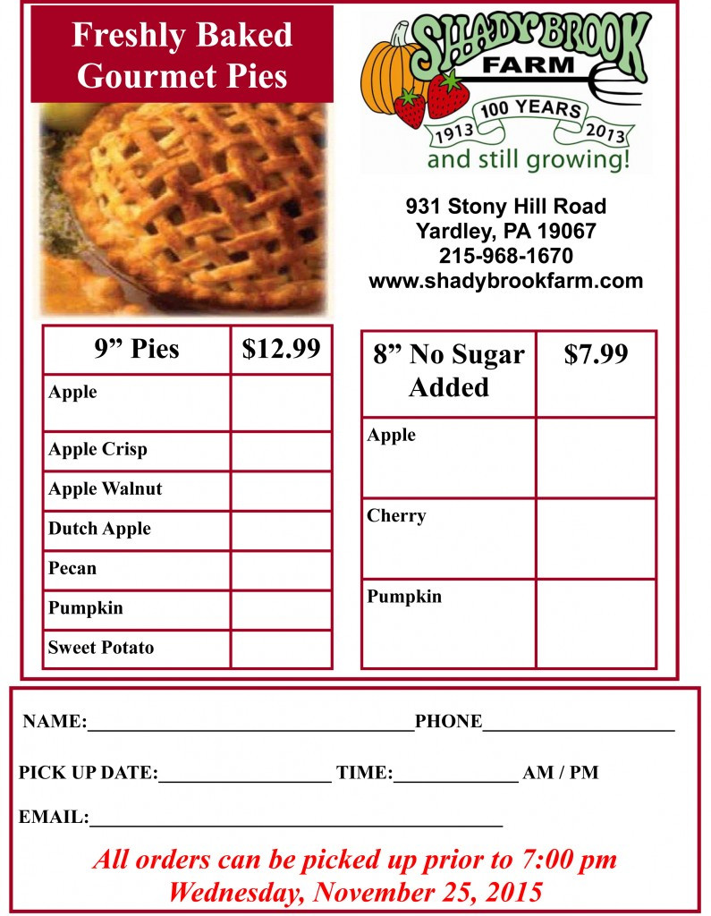 Order Pies For Thanksgiving  Turkey and Pie Order Form – Shady Brook Farm