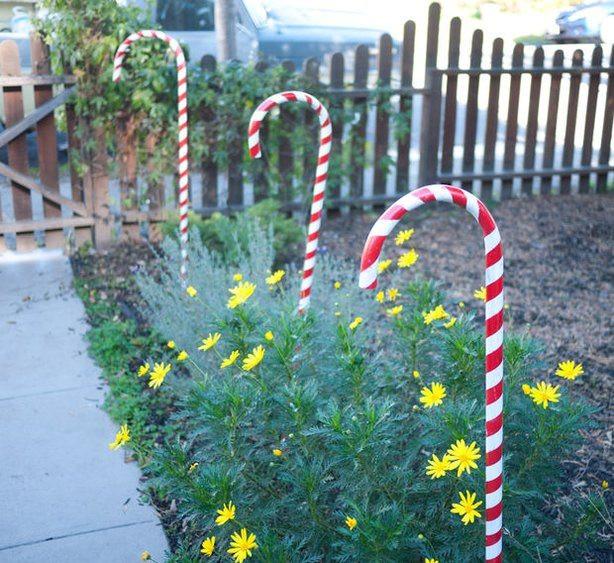 Outdoor Christmas Candy Canes  DIY Outdoor Christmas Decoration Ideas