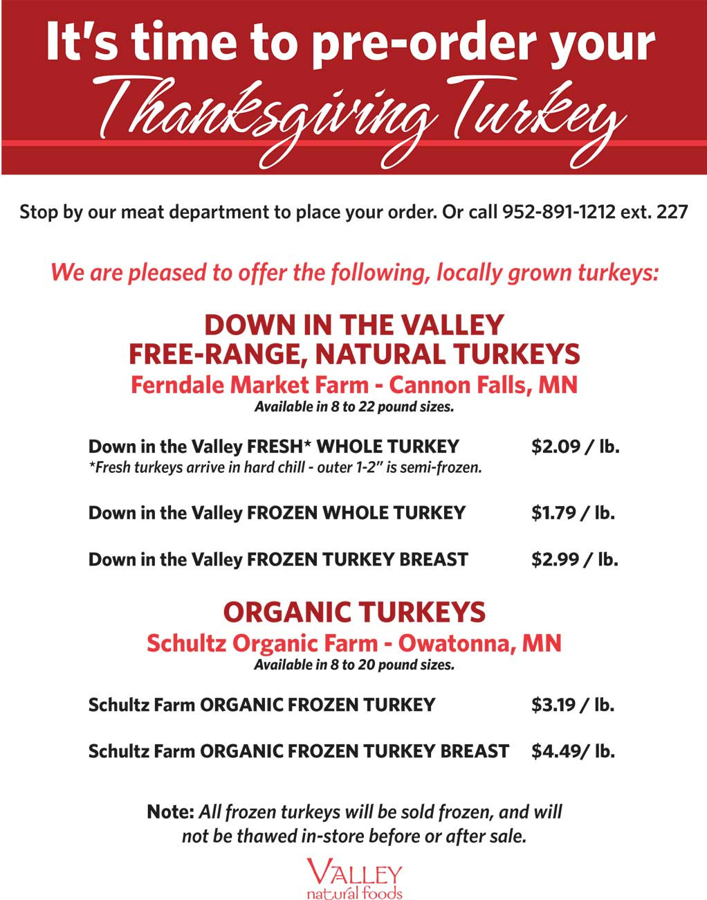 Pre Order Thanksgiving Turkey  Meat & Seafood