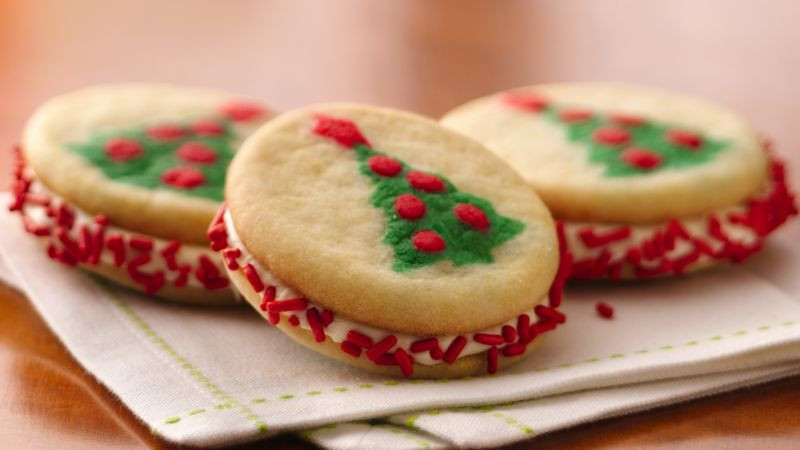 Premade Christmas Cookies  Christmas Tree Sandwich Cookies Recipe Pillsbury